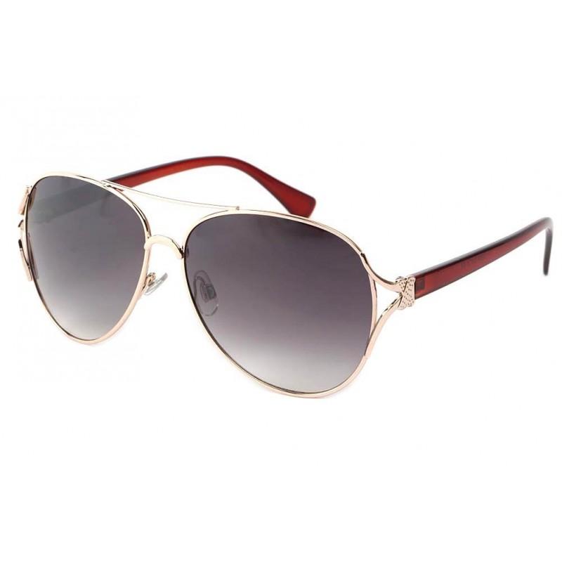 lunettes de soleil  aviateur femme marron et dorees trust