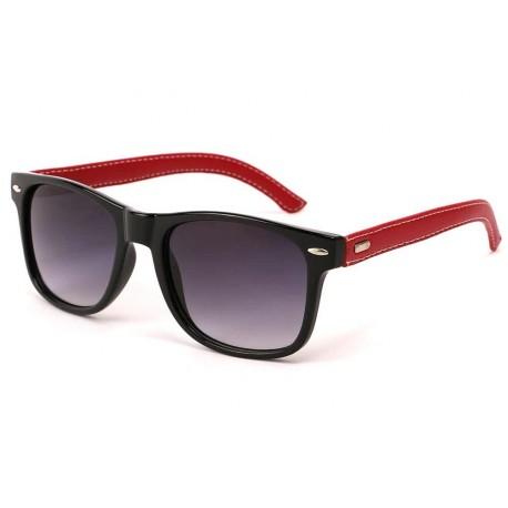 Lunettes de Soleil Yacht Club Noire et Simili cuir Rouge