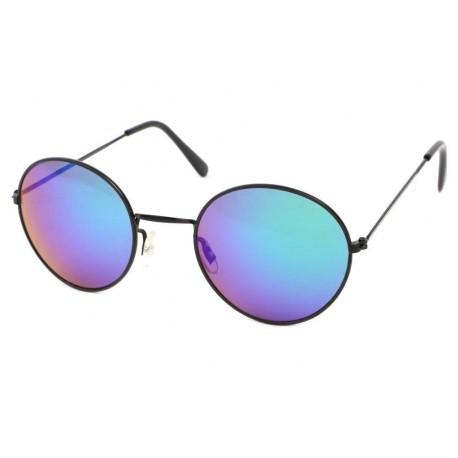 Lunettes de Soleil Ronde Noire Verres Bleus John Lunettes de Soleil Eye Wear