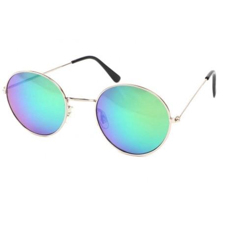 Lunettes de Soleil Rondes Argent et Bleues John Lunettes de Soleil Eye Wear