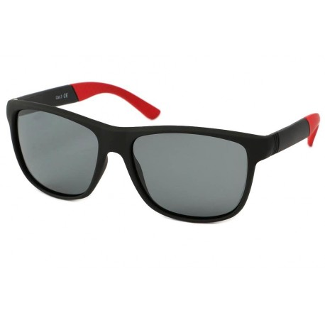 Lunette Polarisante Rectangulaire Rouge et Noire Oasis Lunettes de Soleil Eye Wear