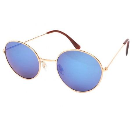 Lunette de Soleil Ronde Doré et Bleu John Lunettes de Soleil Eye Wear