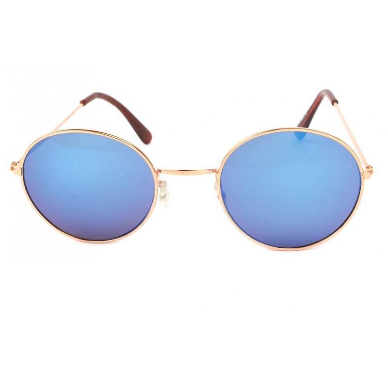 achat lunette de soleil ronde dor et bleu john site lunettesloupe. Black Bedroom Furniture Sets. Home Design Ideas