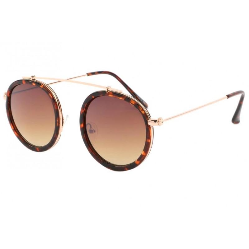 lunettes de soleil rondes marron homme et femme mode livr 48h. Black Bedroom Furniture Sets. Home Design Ideas