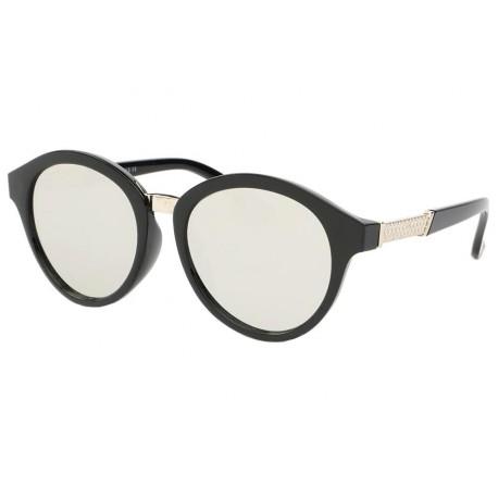 Lunette de soleil vintage Noir Verre Miroir Gris Ychel
