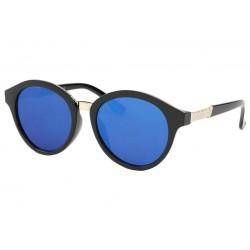 Lunettes de soleil Rondes Noir Verres miroir Bleu Ychel
