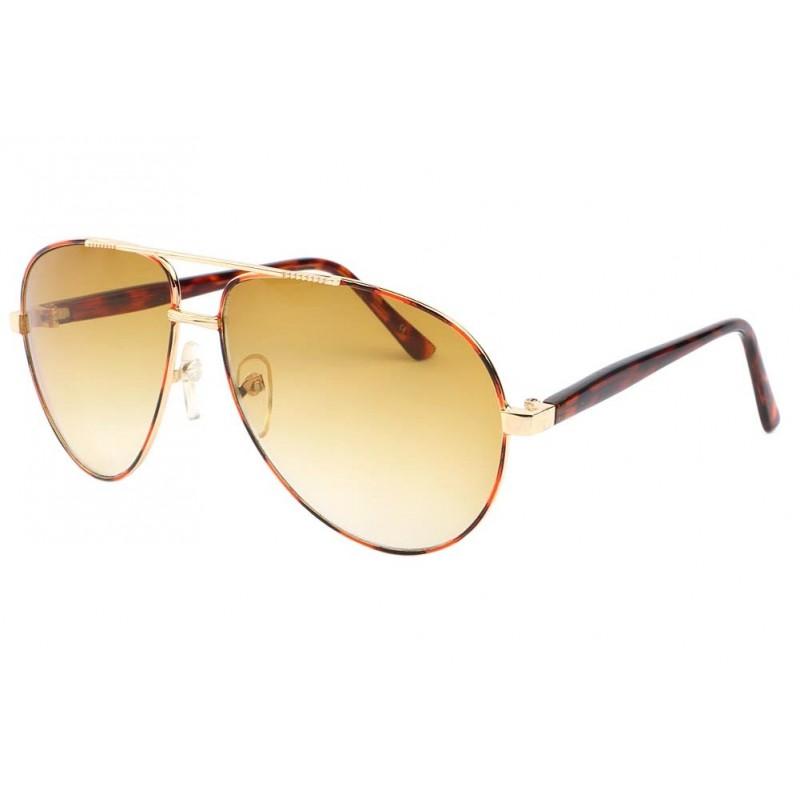 lunettes de soleil  lunette aviateur fashion marron et jaune yell