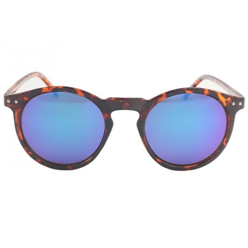 Lunettes de soleil cailles marron et verres miroir bleu for Lunette soleil verre bleu miroir