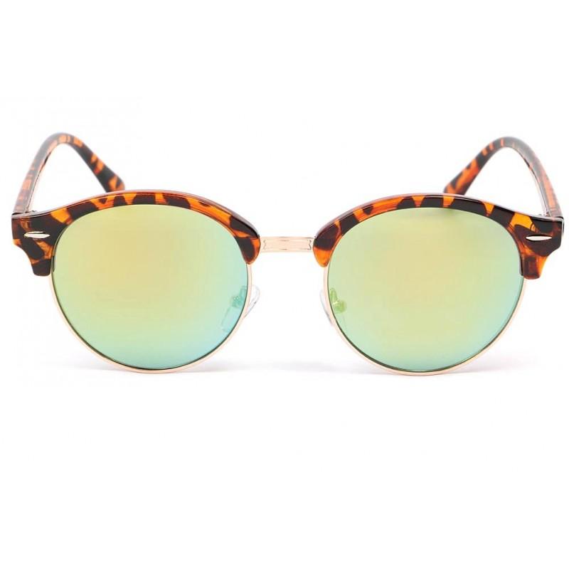 lunette de soleil ronde marron tuxy lunette miroir dor. Black Bedroom Furniture Sets. Home Design Ideas