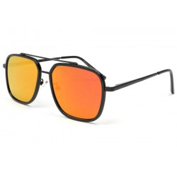 Lunette soleil noir miroir orange Way