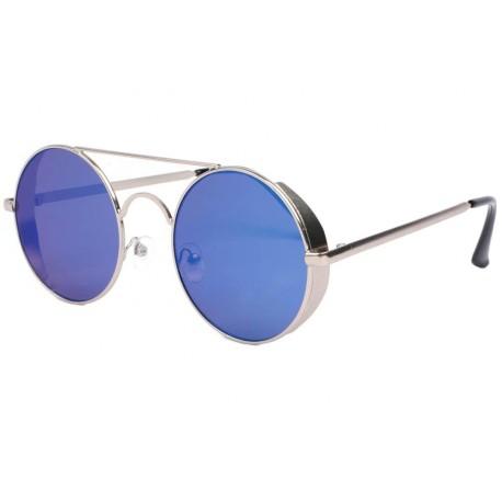 Lunette de soleil ronde miroir bleu Oblada