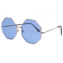 Lunette soleil octogonale bleu tendance Ocha Lunettes de Soleil Eye Wear