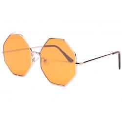 Lunette soleil octogonale jaune tendance Ocha Lunettes de Soleil Eye Wear
