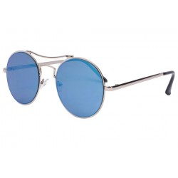 Lunette soleil ronde miroir bleu Cartny Lunettes de Soleil Eye Wear