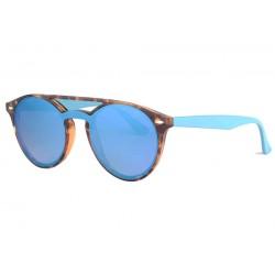 Lunettes soleil miroir bleu vintage marron Clay