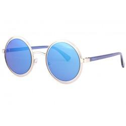 Lunettes soleil miroir bleu rondes tendance Olvay