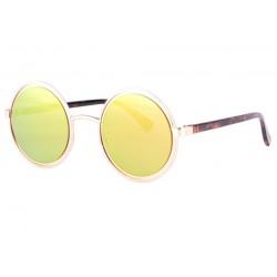 Lunettes soleil miroir ronde dorée tendance Olvay