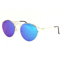 Lunettes de soleil rondes miroir bleu Myka