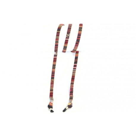 Cordon lunettes original rouge ethnique Luck Accessoires lunettes Loupea