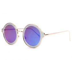 Lunettes soleil rondes miroir bleu fashion Afty Lunettes de Soleil Eye Wear