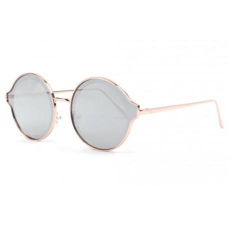 Lunettes soleil rondes reflets miroir argent fashion Afty Lunettes de Soleil Eye Wear