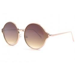 Lunettes soleil rondes fashion marrons et dorees Afty
