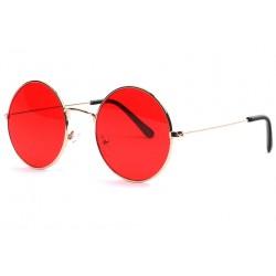 Lunettes de soleil rondes rouges dorées mode Ytles Lunettes de Soleil Eye Wear