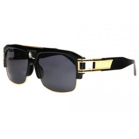 Grosses lunettes soleil Noires et Dorees Tendance Krak Lunettes de Soleil SOLEYL