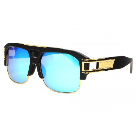 Grosses lunettes soleil miroir bleu Tendance Krak Lunettes de Soleil SOLEYL