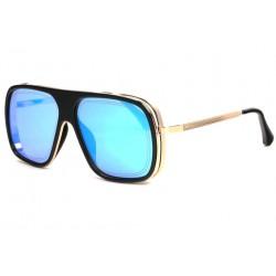 Grandes lunettes soleil miroir bleu Tendance Mark Lunettes de Soleil SOLEYL