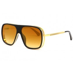 Grandes lunettes soleil miroir dore Tendance Mark