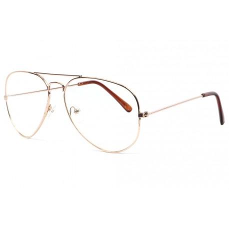 Grandes lunettes sans correction aviateur dores Metyk Lunettes sans correction New Time