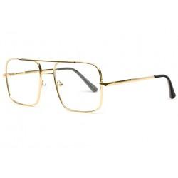 Grosses lunettes sans correction rectangles Geek dorées Fashky