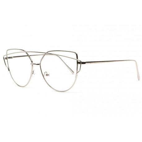 Grandes lunettes sans correction femme classe gris argent Dora Lunettes sans correction SOLEYL