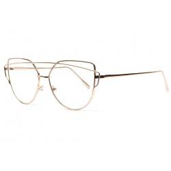 Grandes lunettes femme sans correction classe metal dore Dora Lunettes sans correction SOLEYL