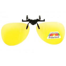 Grand clip lunettes de conduite de nuit surlunettes polarisees jaunes Kyk