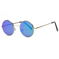 Petites lunettes de soleil rondes miroir bleues fashion Lyf Lunettes de Soleil Eye Wear