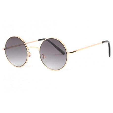 Petites lunettes de soleil rondes noires et dorées chics Lyf Lunettes de Soleil Eye Wear