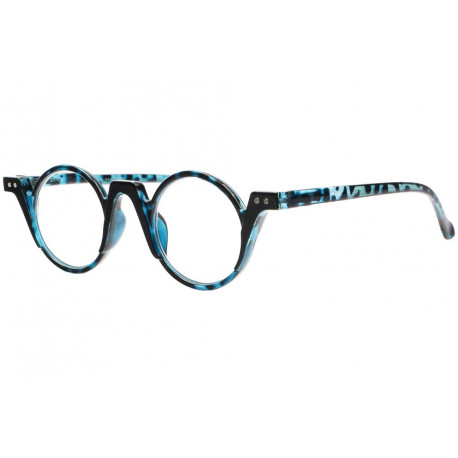 Lunettes loupe rondes fantaisies bleues ecailles Smily Lunette Loupe New Time