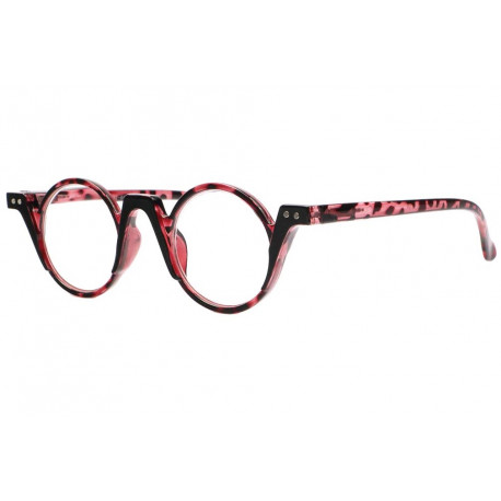 Lunettes loupe rondes fantaisies rouges ecailles Smily Lunette Loupe New Time