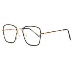 Grandes lunettes sans correction noires et dorées fashion Sazy