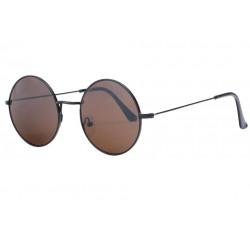 Fines lunettes de soleil rondes noires verres marrons Thyk Lunettes de Soleil SOLEYL