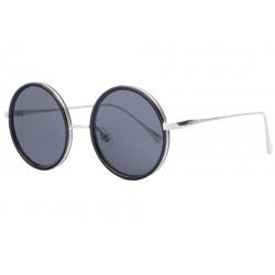 Grandes lunettes de soleil rondes originales noires et argent Duly Lunettes de Soleil SOLEYL