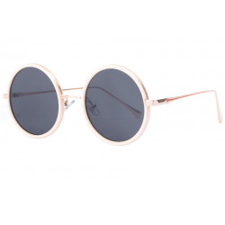 Grandes lunettes de soleil rondes originales beiges et or Duly Lunettes de Soleil SOLEYL