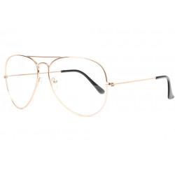 Grandes lunettes sans correction fines dorees aviateur Laik